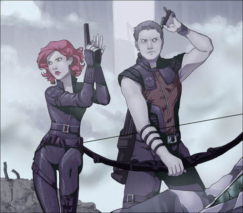 The Avengers wallpaper probably with anime entitled Black Widow & Hawkeye