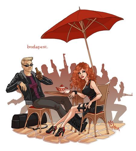 Hawkeye & Black Widow karatasi la kupamba ukuta containing a parasol called Clint & Natasha - Budapest