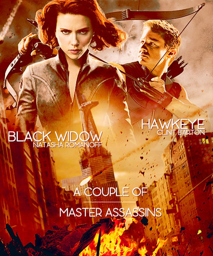 Hawkeye & Black Widow karatasi la kupamba ukuta possibly with a sign called Clint & Natasha