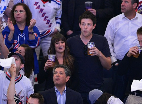 Cory Monteith wallpaper probably containing a business suit called Cory & Lea at The Rangers Game - May 16, 2012