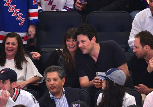 Cory & Lea at The Rangers Game - May 16, 2012 - lea-michele Photo
