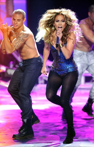 Jennifer Lopez wallpaper possibly with a leotard, tights, and a bustier titled Dance Again Live On American Idol [10 May 2012]