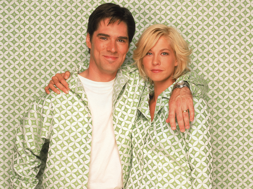 Dharma & Greg wallpaper probably containing a chainlink fence and a well dressed person titled Dharma & Greg