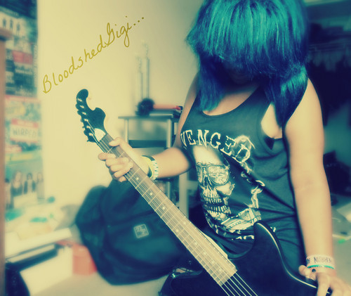 Emo-Rock Teens wallpaper possibly with a guitarist and a concerto called Gigi Gabriela Torres (BloodshedGigi)