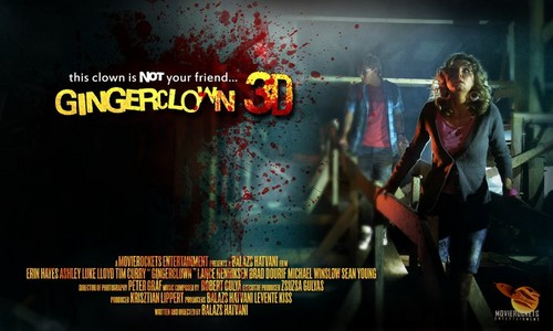 Filem Seram kertas dinding with a sign titled Ginger Clown 3D