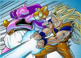 dragon ball z fondo de pantalla containing anime titled goku SSJ3 vs Majin Buu