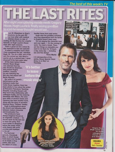HOUSE MD- scan of TV Choice Mag dated 19- 25 May 2012