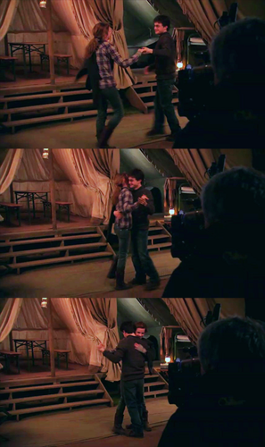 Harry and Hermione dance on set