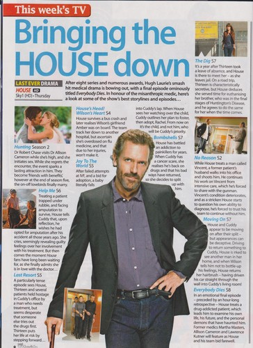 House MD- Scans of -House Total TV Guide dated 19-25 may 2012