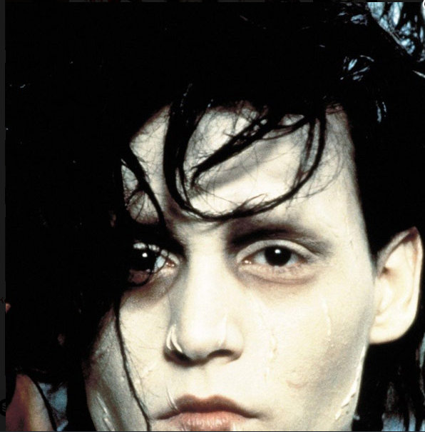 johnny depp as edward scissorhands (1990) tim burton's fantasy drama starring johnny depp and winona ryder.