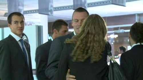 Kvitova and Berdych kiss 2012 - tennis Photo