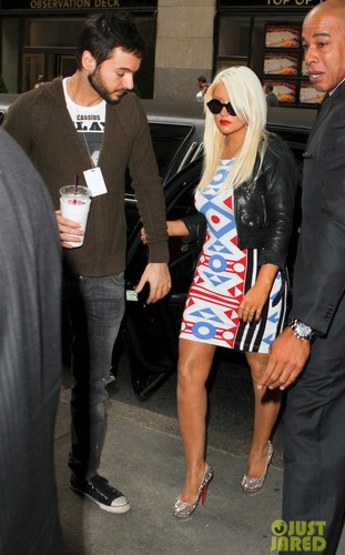 Christina Aguilera wallpaper containing a business suit titled Leaving Her Hotel (14 May 2012)