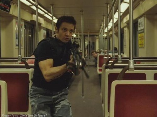 Jeremy Renner achtergrond containing a diner, a subway train, and a straat titled S.W.A.T.