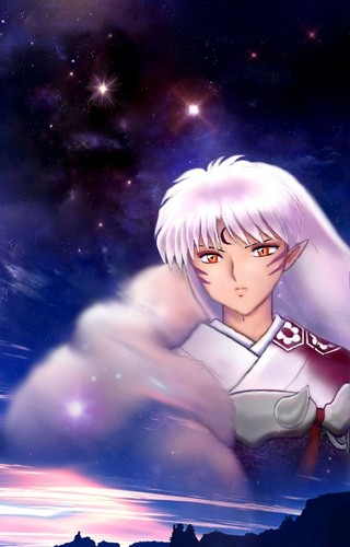Sesshomaru in the Night Sky at Dawn *.*