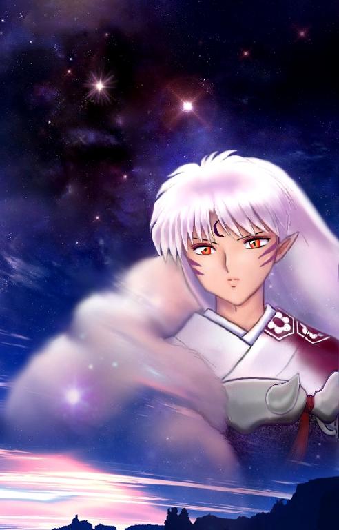 Sesshomaru in the Night Sky at Dawn *.*