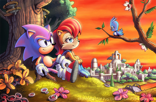 Sonic the Hedgehog wallpaper containing anime entitled Sonic and Sally