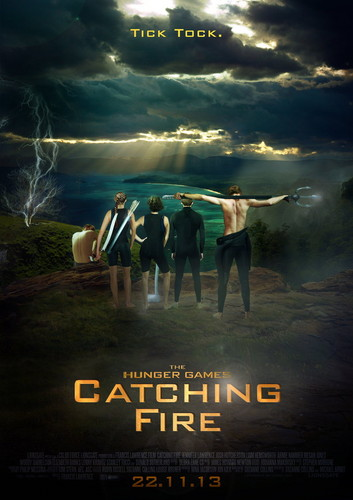 Catching brand achtergrond probably with a sunset called Tick Tock' Catching brand Arena Poster