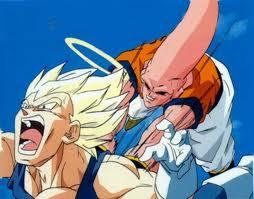 Dragon Ball Z wallpaper containing anime titled Vegeta SSJ vs Super Buu