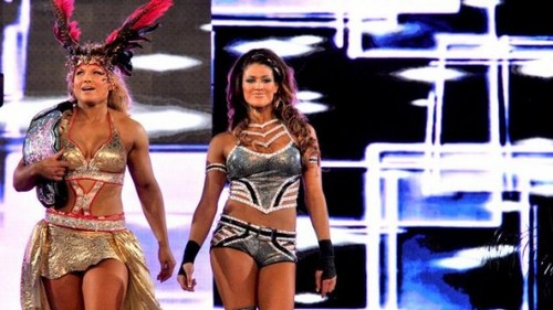 Wrestlemania 28 Results: Kelly Kelly and Maria Menounos vs. Beth Phoenix and Eve Torres - wwe Photo