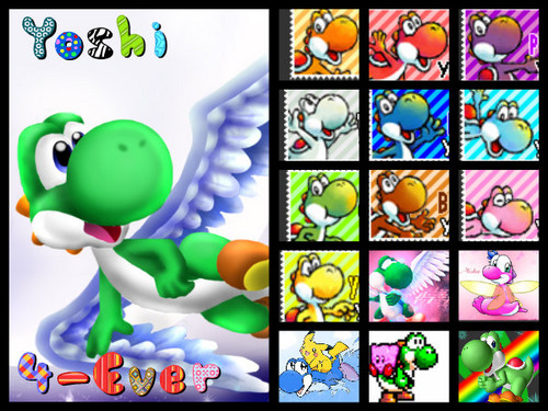 Yoshi wallpaper with a stained glass window titled Yoshi 4- ever