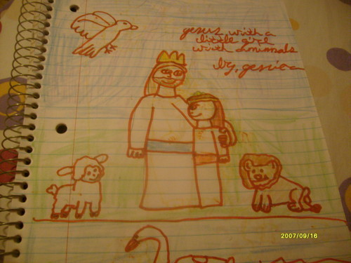 jesus with little girl.with animals