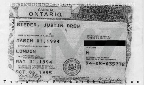 justin's birth certificate canada