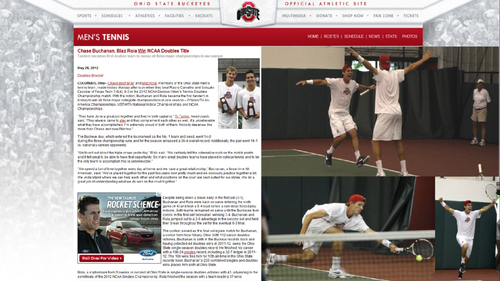 2012 टेनिस BUCHANAN, ROLA WIN NCAA DOUBLES CHAMPIONSHIP
