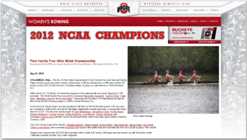 2012 rowing first varsity four wins ncaa championship