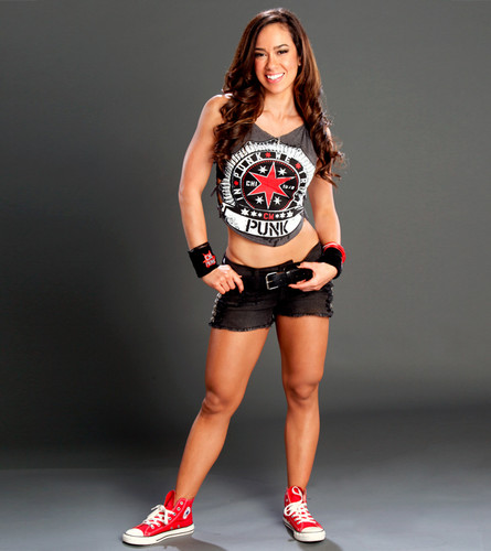 WWE wallpaper probably with a tennis racket and a tennis player titled AJ Lee
