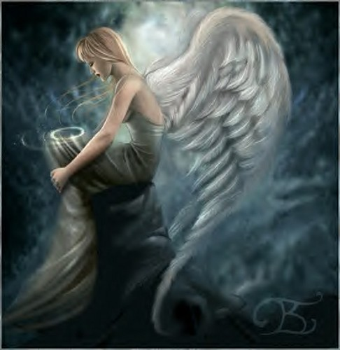 Fantasy wallpaper probably containing a sign and a portrait entitled Angel in Thought