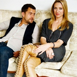 Anna Torv and Joshua Jackson wallpaper possibly containing bare legs, a hip boot, and a well dressed person titled Anna & Josh ♥