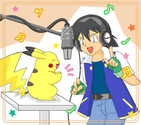 Ash and Pikachu singing