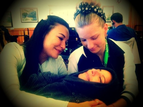 Brittana with their baby Sugar