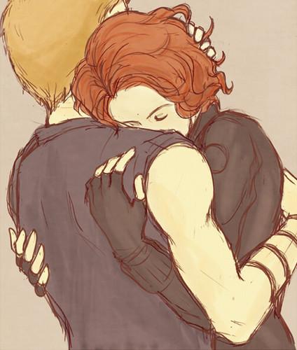 Hawkeye & Black Widow karatasi la kupamba ukuta called Clint & Natasha <3
