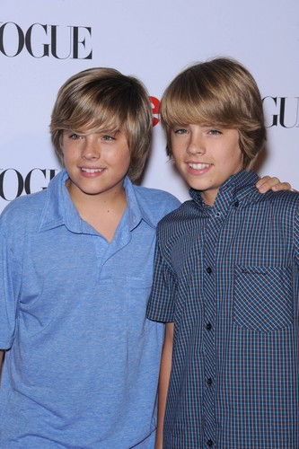 The Sprouse Brothers wallpaper probably containing a sign, a leisure wear, and an outerwear titled Cole and Dylan Sprouse @ Teen Vogue Young Hollywood Party, 18 Sep 2008
