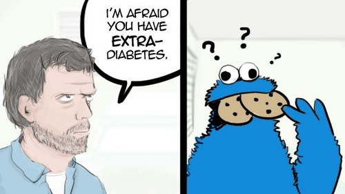 Cookie Monster and his unfortunate illness as diagnosed par Dr. House