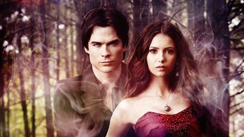 Damon & Elena wallpaper containing attractiveness, a bustier, and a cocktail dress called DE