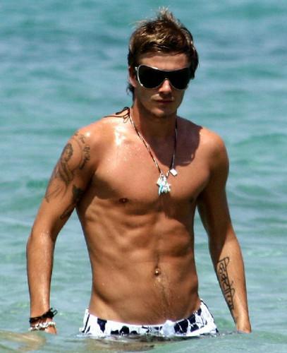 David Beckham shirtless