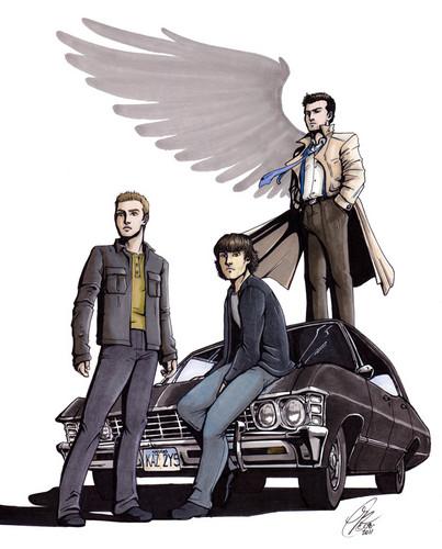 Dean, Sam, Castiel