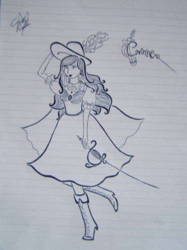 Drawn today at school, Corinne in my personal style