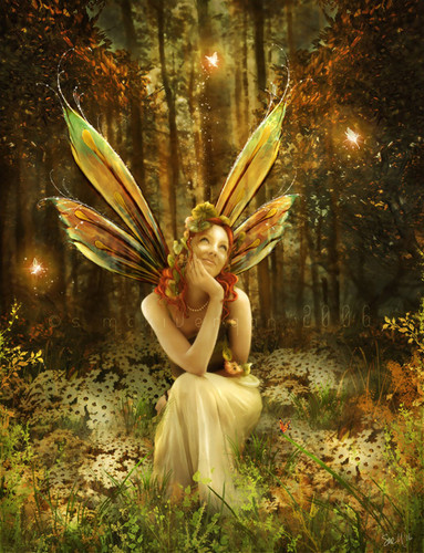 Fantasy wallpaper with a bouquet entitled Fairy