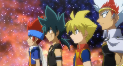 Gingka, Kyoya, Chris and Ryuga