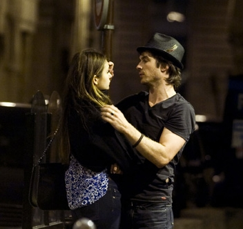 Ian Somerhalder and Nina Dobrev wallpaper probably containing a street and a hip boot called Ian/Nina ღ