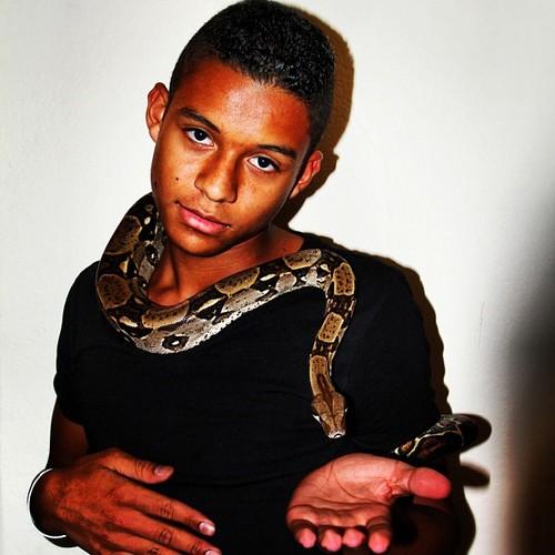 Jaafar Jackson and his pet snake