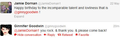 Jamie Dornan & Ginnifer Goodwin @ Twitter