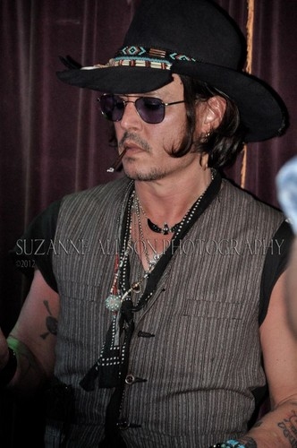 Johnny Depp wallpaper containing a fedora, a boater, and a campaign hat titled Johnny @ the Mint - 5/25/12
