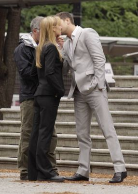Joshua and Anna on set - July 12, 2010