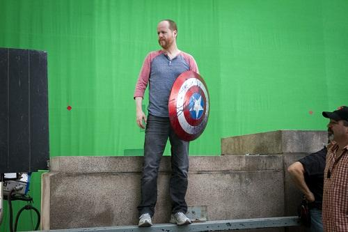 Joss on the set of the Avengers