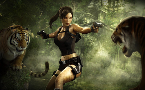 Tomb Raider wallpaper possibly containing a tiger cub entitled Lara Croft