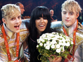 Loreen with Jedward after Eurovision 2012